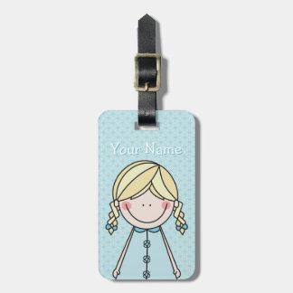 Cute Girl (braids) blue Travel Bag Tag