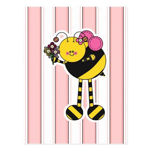 Cute Girl Bumble Bee Postcard