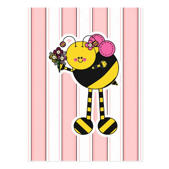 Cute Girl Bumble Bee Postcard