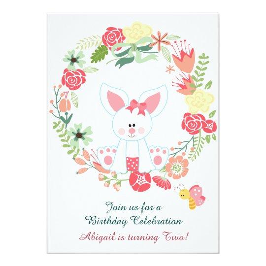 Cute Girl Bunny and Flower Wreath Birthday Card