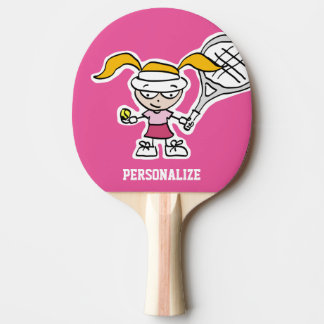 Cute girl cartoon table tennis ping pong paddle