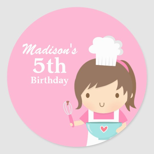 Cute Girl Chef Cooking Baking Birthday Party Classic