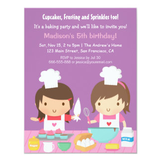 Cute Girl Chef Cupcake Baking Birthday Party Card