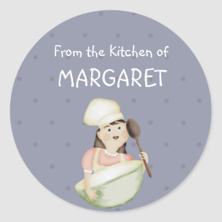cute girl chef hat mixing bowl bakery food kitc... round sticker