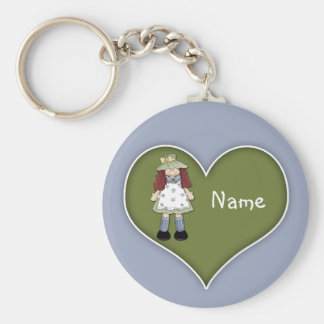 Cute Girl Design Basic Round Button Key Ring