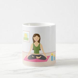 Cute Girl Doing Yoga In A Pretty Room Basic White Mug