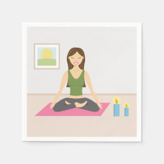 Cute Girl Doing Yoga In A Pretty Room Disposable Napkins
