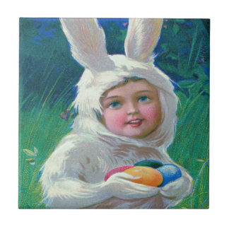 Cute Girl Easter Bunny Costume Field Small Square Tile