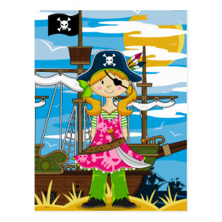 Cute Girl Eyepatch Pirate Postcard