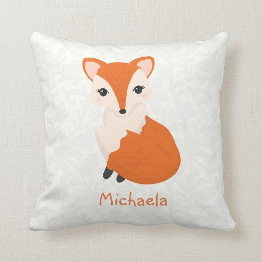 Cute Girl Fox Personalised Kids Cushion