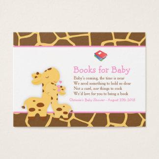 Cute Girl Giraffe Book Request for Baby Shower Business Card