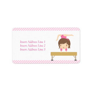 Cute Girl Gymnastics Kids Birthday Party Address Label