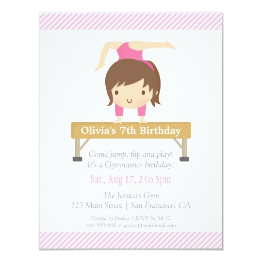 Cute Girl Gymnastics Kids Birthday Party Card