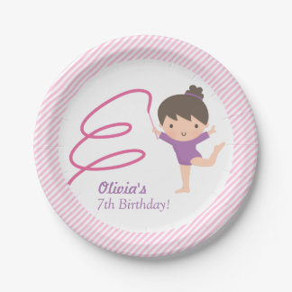Cute Girl Gymnastics Kids Birthday Party Supplies 7 Inch Paper Plate