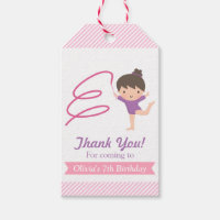 Cute Girl Gymnastics Kids Birthday Party Tags Pack Of Gift Tags
