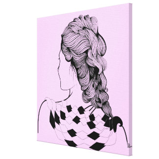 Cute Girl Hairstyle Stretched Canvas Prints