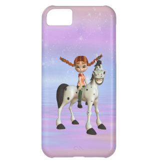 Cute Girl & Happy Horse iPhone 5C Case
