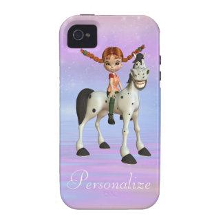 Cute Girl & Happy Horse iPhone 4/4S Case