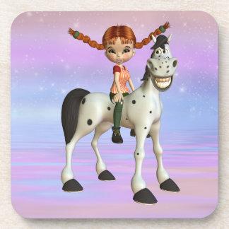 Cute Girl & Happy Pony Magical Fantasy Coasters