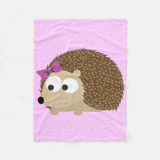 Cute Girl Hedgehog Fleece Blanket