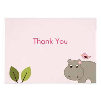 Cute Girl Hippo Flat Thank You Note Cards