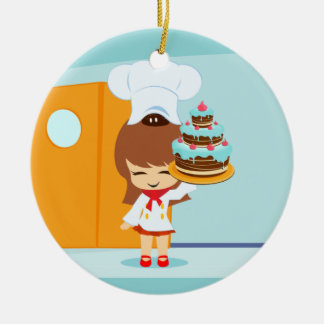 Cute Girl holding Chocolate Birthday Cake Christmas Ornament