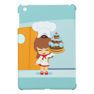 Cute Girl holding Chocolate Birthday Cake Cover For The iPad Mini