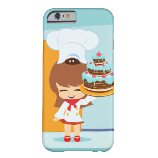 Cute Girl holding Chocolate Birthday Cake iPhone 6 Barely There iPhone 6 Case