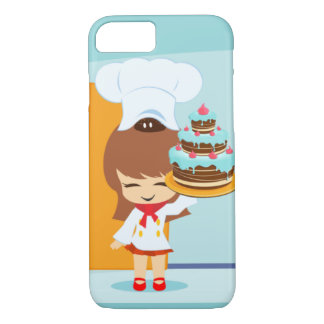 Cute Girl holding Chocolate Birthday Cake iPhone 8/7 Case