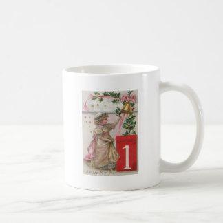Cute Girl Holly Wreath Bell Basic White Mug