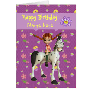 Cute Girl Horse Flowers Personalized Birthday Cards
