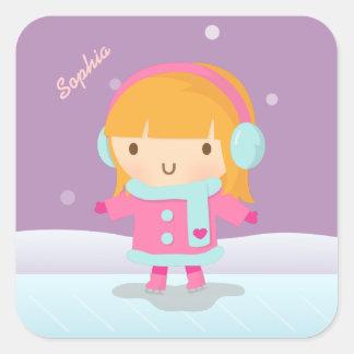 Cute Girl Ice Skater For Kids Square Sticker