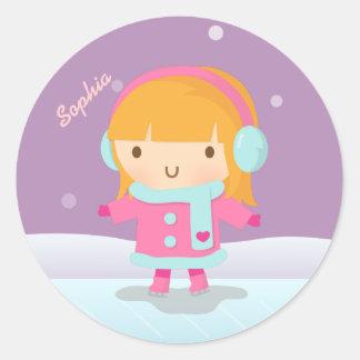 Cute Girl Ice Skater For Kids Sticker