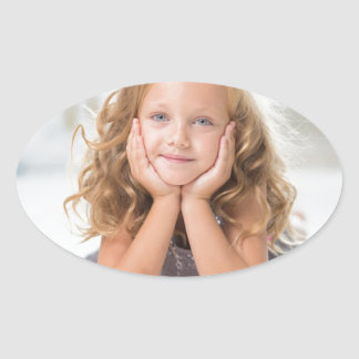 Cute Girl image Oval Sticker