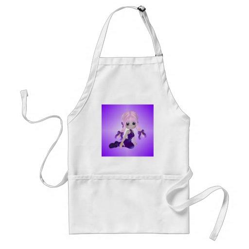 Cute Girl in Purple Clothes Apron
