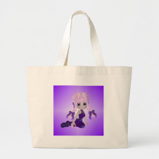 Cute Girl in Purple Clothes Canvas Bags