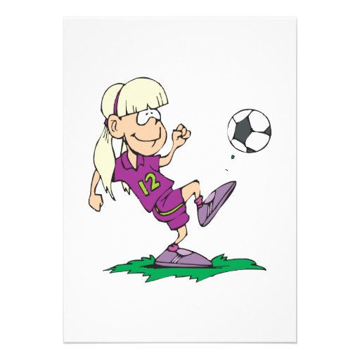 cute girl kicking soccer ball custom announcements