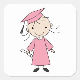Cute Girl Kindergarten Graduation Square Sticker