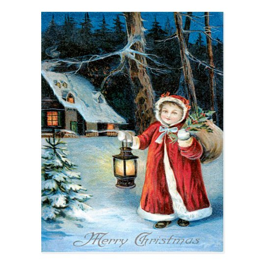 Cute Girl Lantern Holly Winter Cottage Postcard