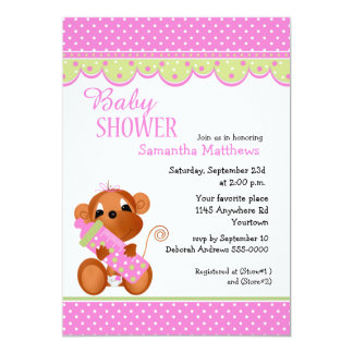 Cute Girl Monkey with Baby Bottle Shower 13 Cm X 18 Cm Invitation Card