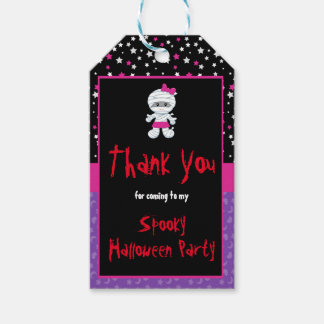 Cute Girl Mummy Halloween Party Gift Tags
