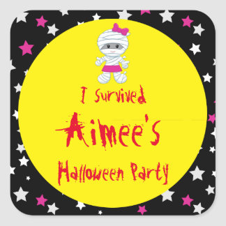 Cute Girl Mummy Halloween Party 'I Survived' Square Sticker
