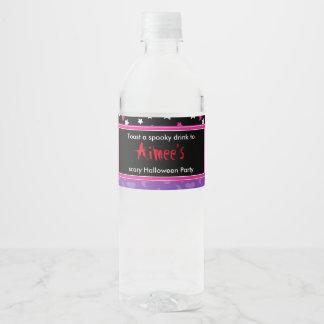 Cute Girl Mummy Halloween Party Water Bottle Label