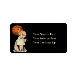 Cute Girl on Halloween Vintage Address Label