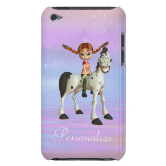 Cute Girl on Happy Horse Personalized iPod Case Barely There iPod Cases