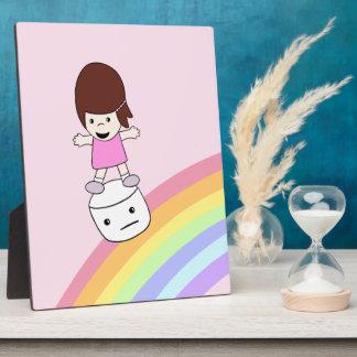 Cute Girl on Rainbow w Marshmallow Plaque w Eisel