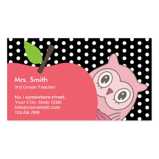 Cute Girl Owl & Apple Tutor/Teacher Business Card