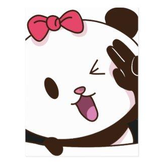 Cute girl panda OK! postcard
