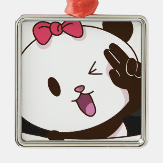 Cute girl panda OK! Silver-Colored Square Decoration