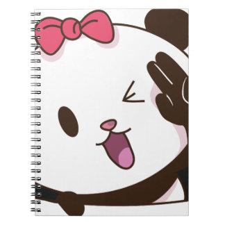Cute girl panda OK! Spiral Notebook